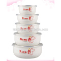 Favourable price 5 pcs enamel ice bowl & storage bowl &fashion Chinese