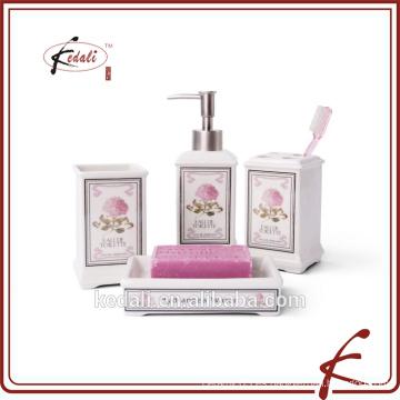Conjunto de baño de cerámica de 4pcs rose decals