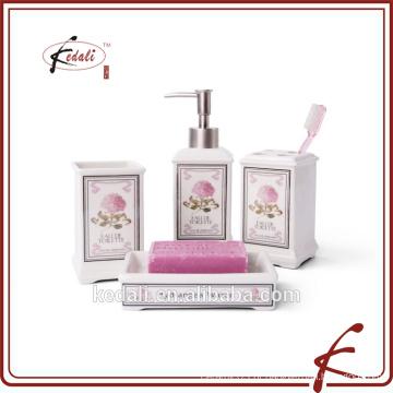 4pcs decalques rosa casa de banho cerâmica