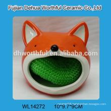 2016 new arrival ceramic sponge holder in fox shape for kitchen