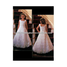 For sale appliqued beaded square neckline with floor length A-line custom made lace flower girl dresses CWFaf3919
