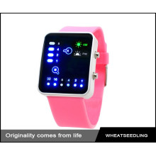 Fashion cute pink silicone band montre led colorée, montre femme