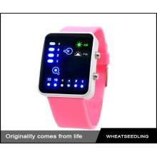 Мода милый розовый силиконовой лентой красочные светодиодные часы, леди смотреть