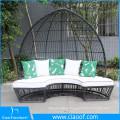 Patio Plastic Wicker Round Bed, modern outdoor round sunbed