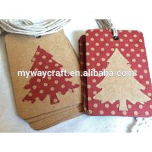 2015 Joyeux Noël à la main Pays Papier kraft brun rouge Tag de Noël des points de polka pour cadeaux