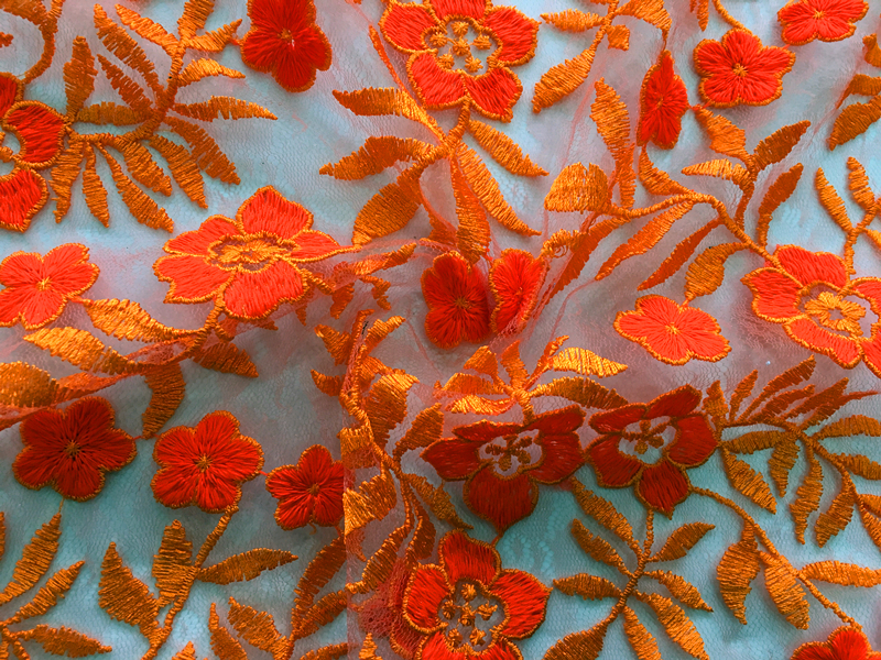 Flower Scallop Embroidery Fabric