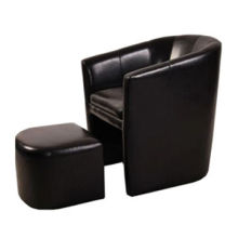Tub Chair with Solid Wood Frame and PVC Surface, Seating with Footrest Function