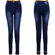 Dark Blue White Women Jeans Factory