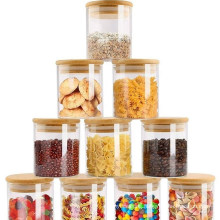 High Quality Borosilicate Spice Glass Jar Food Storage Containers with Bamboo Lid