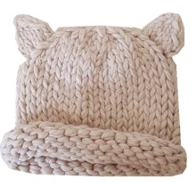 Ear bonnet trend children's clothing hat decorated autumn and winter hand-knit curling wool hat