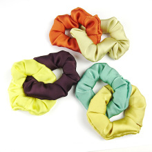 Patchwork Scrunchies New Hair Accessories Tie Bow Elastic Band Ribbon Fabric Designer Fabric for Women Solid for Girl Wholesale