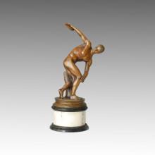 Estatua de los deportes Escultura de bronce del lanzamiento del disco, Myron TPE-114