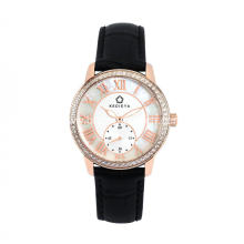 Stainless steel leather quartz women watch