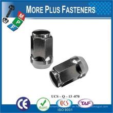 Made in Taiwan Schwarz Blau Chrome Bulge Open Ended Eichel Lug Nut Pitch Thread