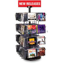 Supermercado Counter Top 4-Tier Metal Display Shelf, 32 fios Pockets Audio Shop Cd Display Shelf