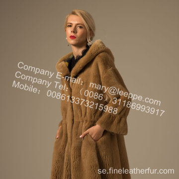 Kvinnor Reversible Winter Mink Fur Overcoat