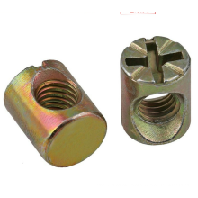 M6*14mm Customized Steel Yellow Zinc Plated Slotted Horizontal Hole Barrel Nut