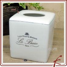 Caja de tejido de porcelana blanca