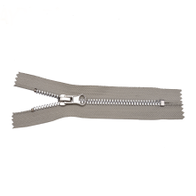 Closed End Stainless Steel Metal Zipper Beige Tape