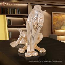 Estátua de tigre de resina antiga de animal de tamanho personalizado da vida na fábrica