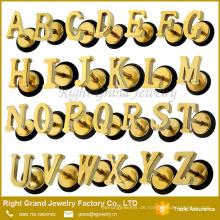 Edelstahl vergoldet Alphabet Buchstaben Fake Plug Barbell Ohrring