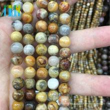 joyas cuentas de piedra 10mm piedra de ágata natural lisa