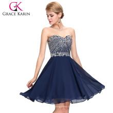 Grace Karin Strapless Cuello Corto gasa con cuentas de vestidos de cóctel de color azul marino 2016 GK000082-2