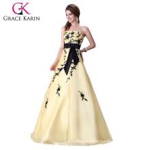 Grace karin Ball Gown sin tirantes piso sin espalda de longitud larga amarillo claro vestido de novia de baile de fin de curso CL2520