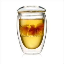 350ml (12oz) Copo de chá de vidro duplo da parede