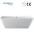 Wall Against Wide Flange Acrylic Freestanding Hot Tub Bathtub