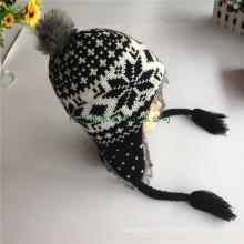 Chaussure Bobble de mode nouvelle fille de mode nouvelle fille Chaussures tricotées en laine en fourrure Topies élégantes Skullies Bobble Chapeaux 2016 Winter Hatsdiscount Free Inspection
