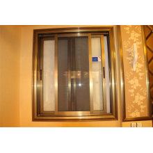 Doble vidrio templado de aluminio ventana deslizante con pantalla de SS