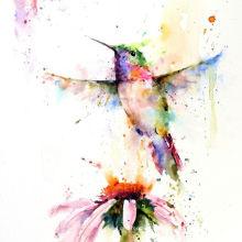 Абстрактная живопись акварелью птицы
