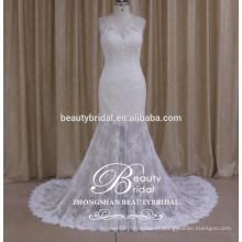 Venda quente vestido de noiva sem mangas ver através do vestido de noiva sereia de renda 2017