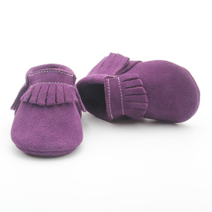 Roland Purple Suede Leather Baby Miękkie mokasyny