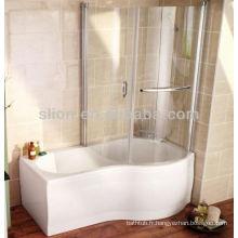Peinture blanche en forme acrylique solide en forme de baignoire avec panneau en verre