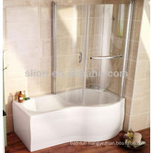 Acrylic solid surface white p shape shower bathtubs with glass panel