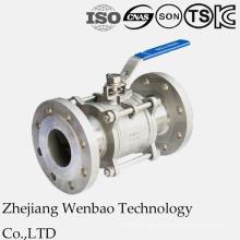 Válvula de bola embridada de acero inoxidable de 3 piezas con DIN 3202