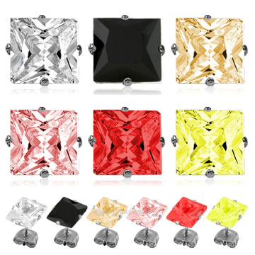 316L Surgical Stainless Steel Earrings Square Cubic Zirconia Custom Earring Stud