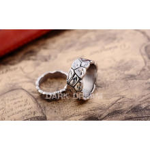 Paare Ring Titan Stahl Retro Silber Farbe Unrub-off