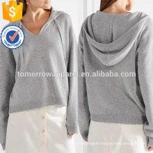Gray Oversized Cashmere Hooded Top OEM/ODM Manufacture Wholesale Fashion Women Apparel (TA7013H)