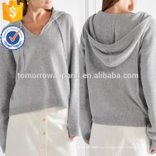 Серый негабаритных кашемир с капюшоном Топ OEM/ODM в производство Оптовая продажа женской одежды (TA7013H)