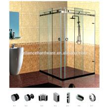 Recintos de hardware de ducha deslizante Frameless Attrative de acero inoxidable para sistema de esquina de puerta doble de 90 grados