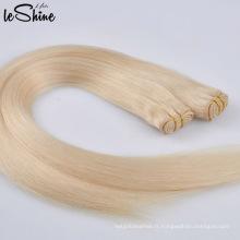 Vente chaude Double Drawn Pas Cher Prix Remy Couleur Des Cheveux 613 Blond Armure De Cheveux
