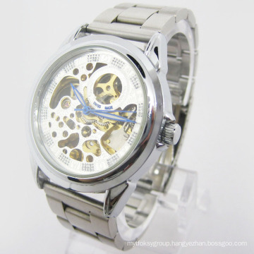 Stainless Steel Automatic Skeleton Watch (HAL-1293)