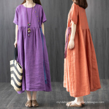 Cotton and Linen Summer Short-Sleeved Loose MID-Length Dress