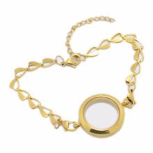 Pulseras baratas baratas del medallón del encanto de la caja de la píldora del oro de la manera para las mujeres
