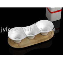 3pcs dipping dish set with wooden stand
