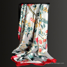 Nouveau motif 135 * 135 cm femmes imprimé floral 100 polyester grand carré écharpe
