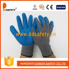 Серый нейлон с голубой Латекс перчатки-Dnl116